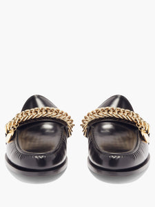Chain-embellished leather backless loafers