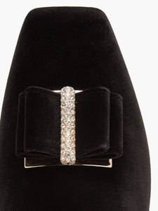 Zaha crystal-embellished backless velvet slippers