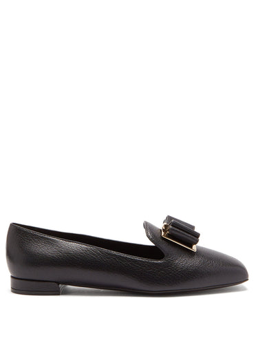 Zaneta double-bow grained leather loafers