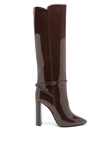 Soixante Seize patent-leather knee-high boots