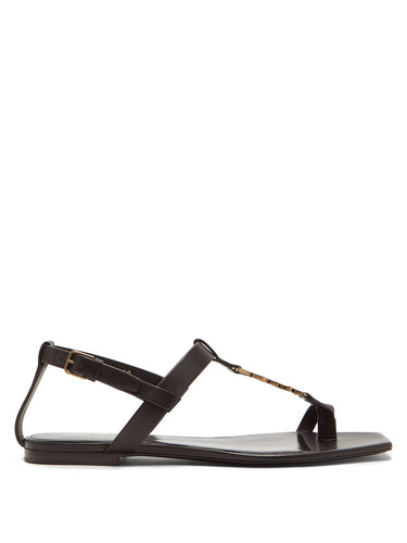 Cassandra YSL-monogram T-bar leather sandals