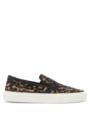 Venice slip-on leopard-print suede trainers