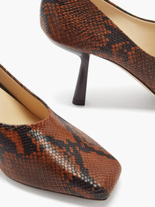 Marcela 85 square-toe python-effect leather pumps