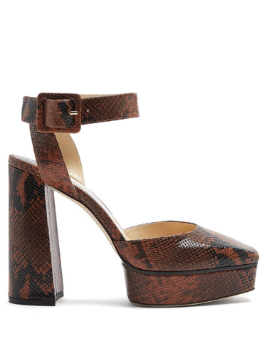 Jinn 125 python-effect leather platform sandals