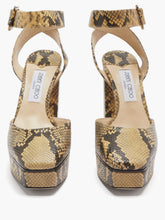 Load image into Gallery viewer, Jinn 125 python-effect leather platform sandals