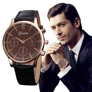 Business Style Men's Leather Quartz Watch