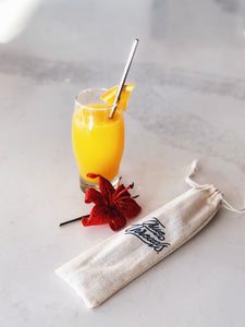 Reusable straws w/ linen bag