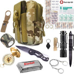Emergency Survival First Aid Kit EDC Tools Upgraded Molle Pouch Holster Tactical Pen Outdoor Gear First Aid Supply SOS Flashligt