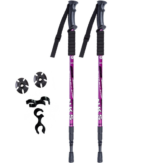 2Pcs/lot Anti Shock Nordic Walking Sticks Telescopic Trekking Hiking Poles Ultralight Walking Canes With Rubber Tips Protectors. at wurastore.com