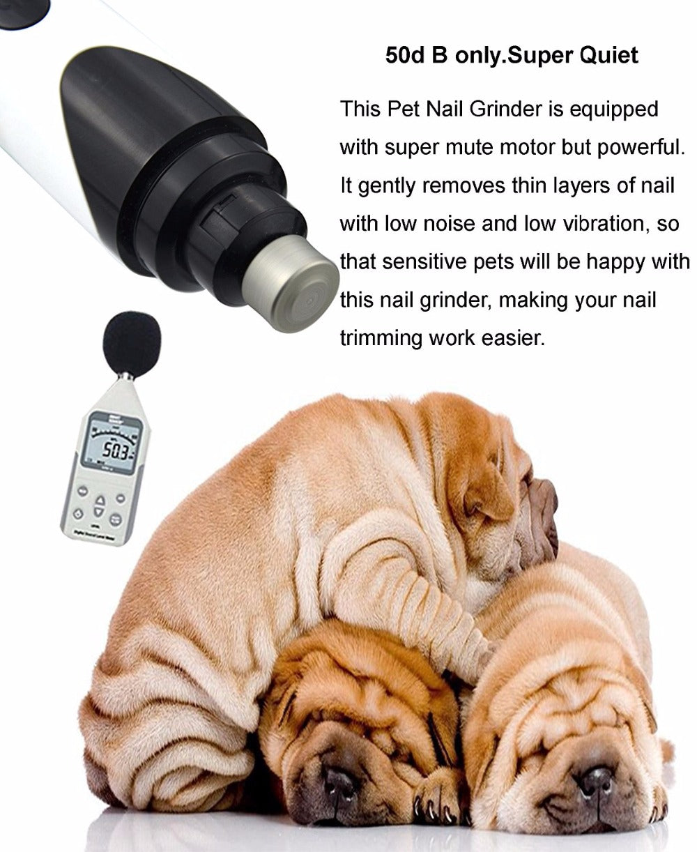 Rechargeable  Pets Nail grinder, with USB charging, super quiet working for Dogs cats paws nail grooming and trimming