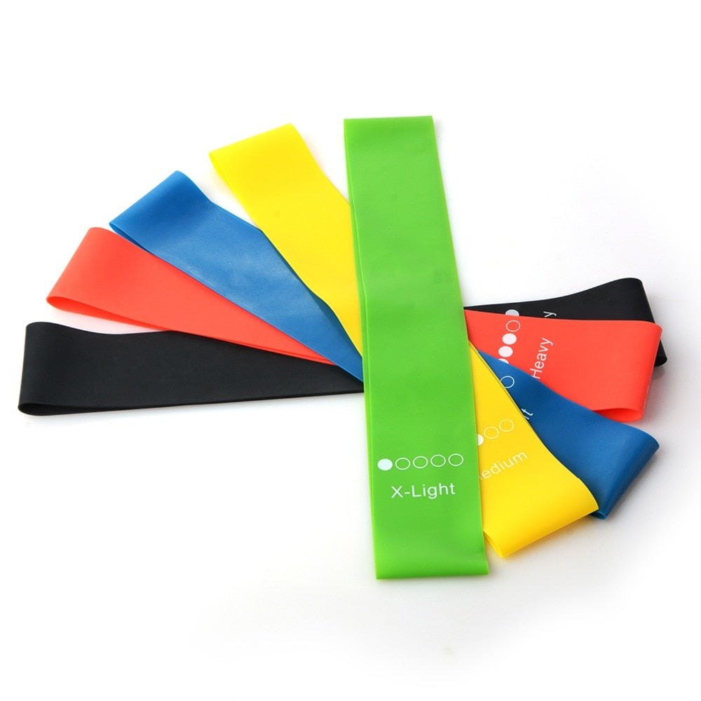 5 Colors Yoga Resistance Rubber Bands for Indoor & Outdoor yoga Fitness at wurastore.com