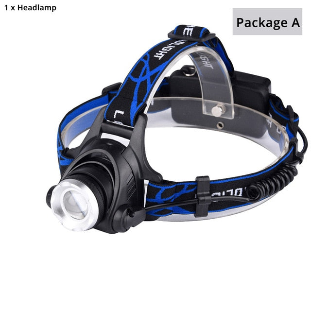 LED headlamp 6000 lumen T6/L2, 3 modes Zoomable lamp Waterproof with Adjustable flashlights, package A