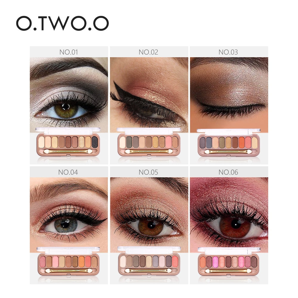 O.TWO.O 9 Colors Palette Shimmer Glamorous Smokey Eye Shadow Eyeshadow With Brush. at wurastore.com