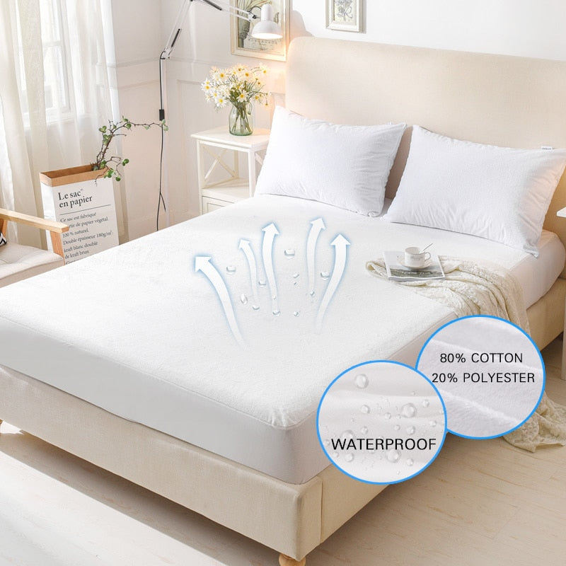 Terry Waterproof Mattress Cover Anti-mite Breathable Hypoallergenic Bed Protection Pad Mattress Protector Bed Bug Suit at wurastore.com