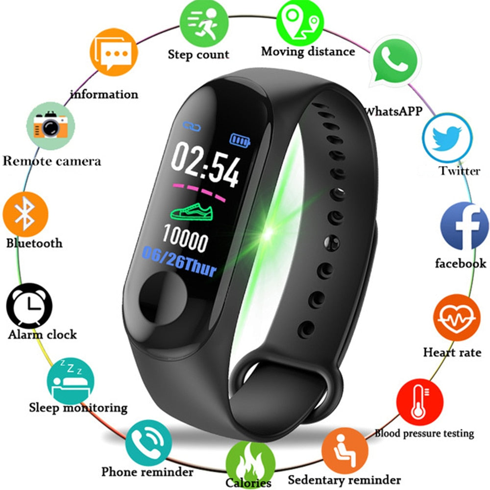 2019 New  M3 Men & Women Sport Waterproof Smartwatch, Blood Pressure Heart Rate Monitor, Smart Watch for Fitness Tracker Pedometer and water resistance watch. at wurastore.com