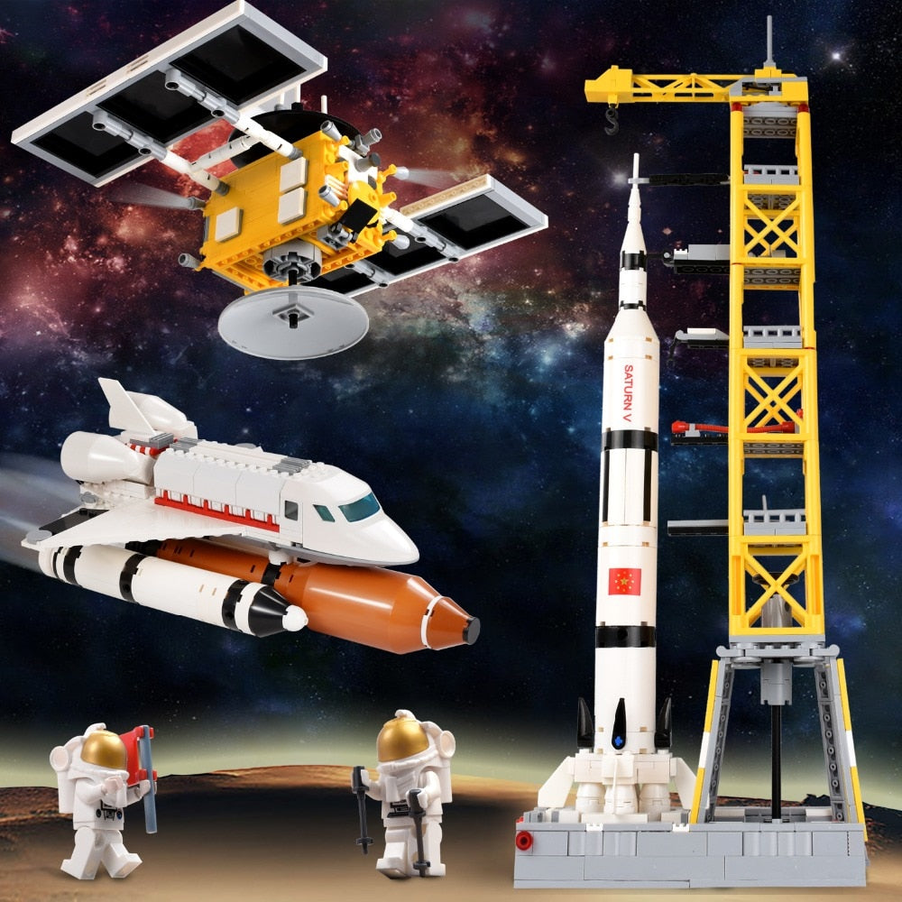 2019 1043PCS Aviation Technic Blocks Compatible LegoINGLY Outer Spaceship Satellite Model DIY Bricks Block Building Toys For Children. at wurastore.com