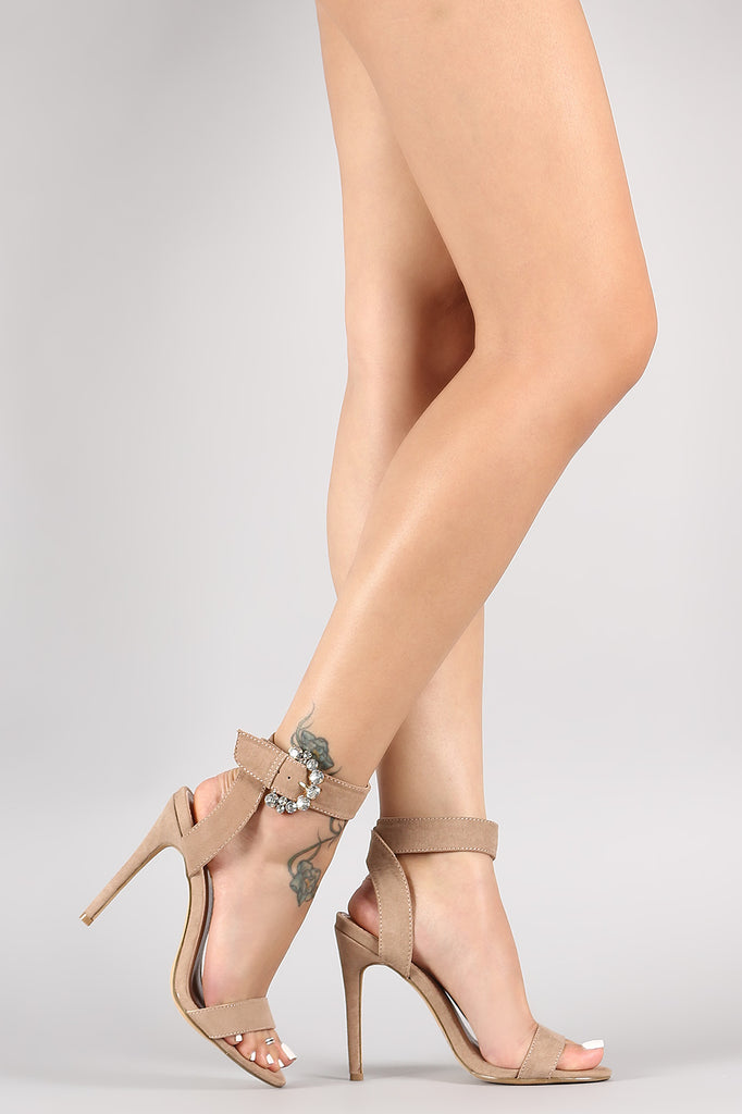Suede Jeweled Buckled Ankle Strap Stiletto Heel