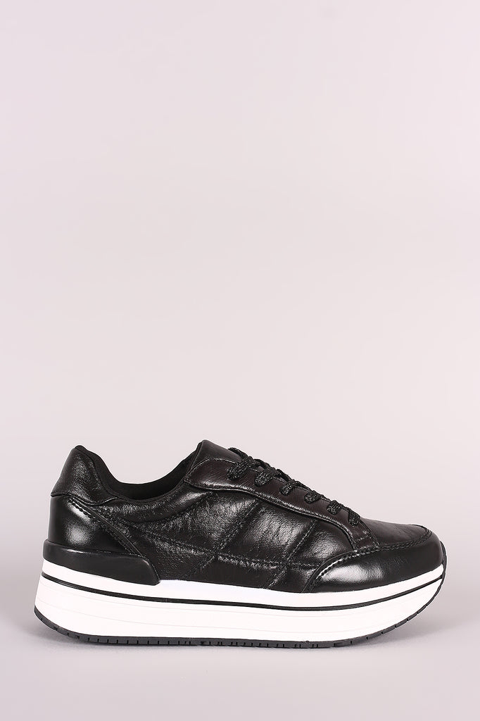 Qupid Distressed Leather Lace Up Flatform Sneaker