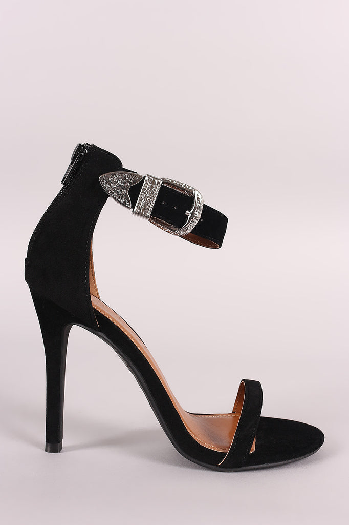 Shoe Republic LA Etched Buckled Ankle Strap Stiletto Heel