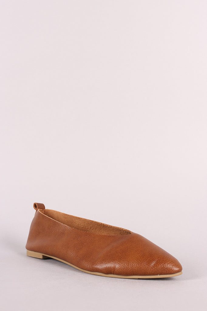 Qupid Vegan Leather Pointy Toe Flat