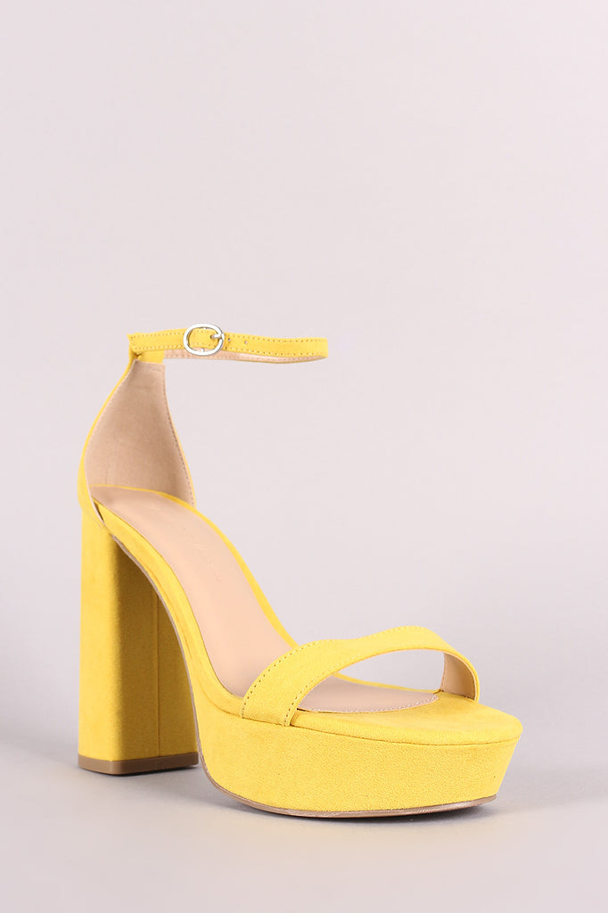 Wild Diva Lounge Suede Ankle Strap Chunky Platform Heel