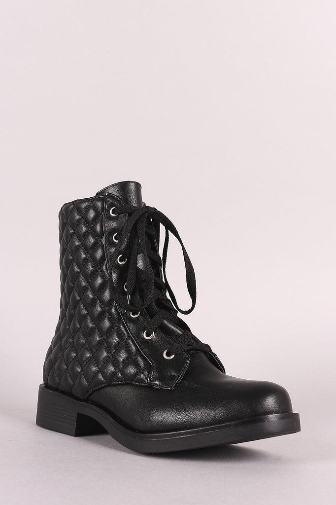 Bamboo Quilted Lace-Up Combat Boot