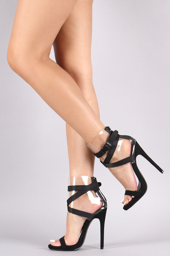 Strappy Buckled Clear Ankle Cuff Stiletto Heel