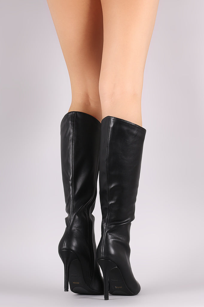 Anne Michelle Slanted Pointy Toe Stiletto Knee High Boots