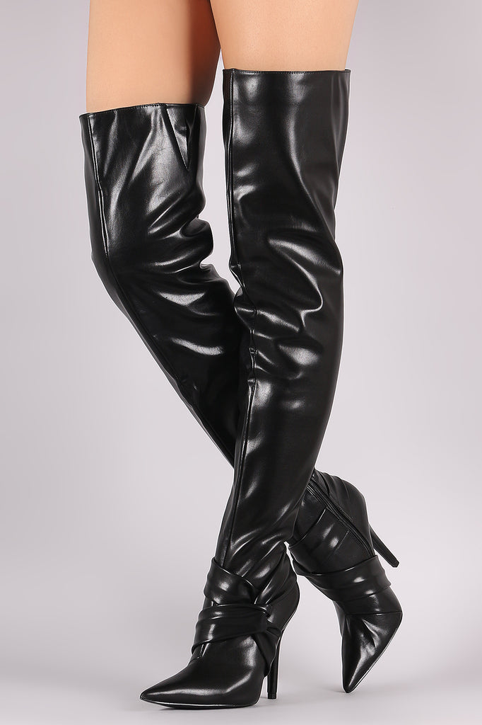 Pointy Toe Knotted Accent Over-The-Knee Stiletto Boots