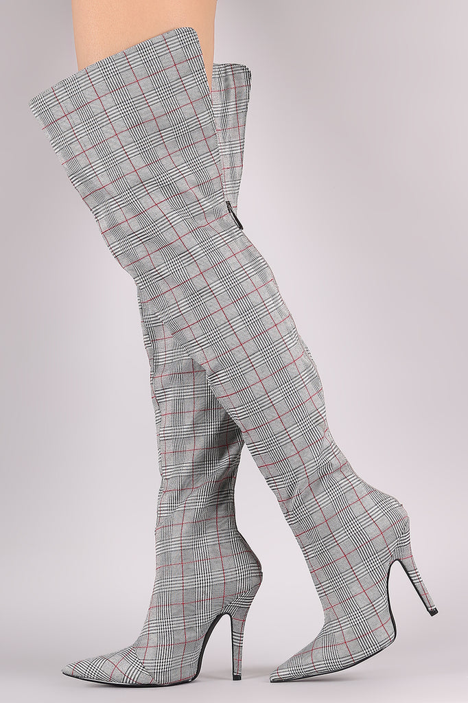 Glen Plaid Pointy Toe Over-The-Knee Stiletto Boots