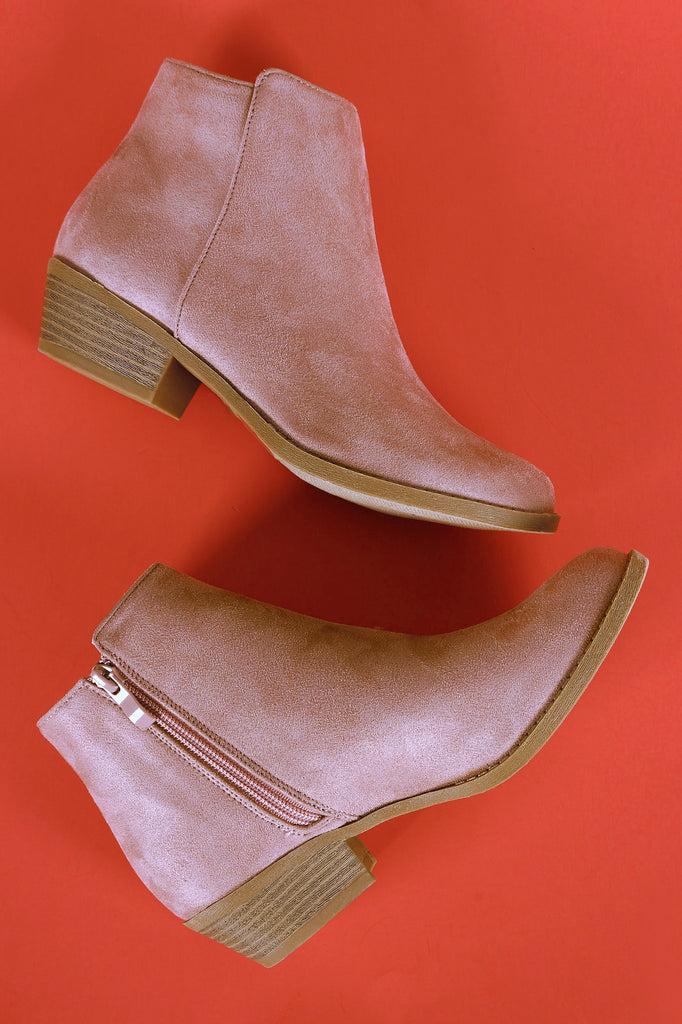 Plain Side Zip-Up Booties