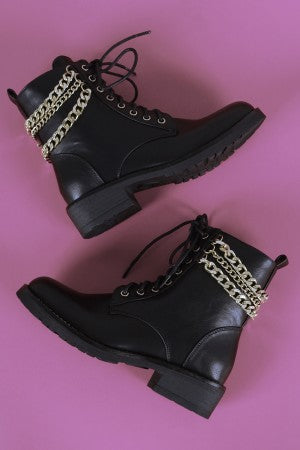 Liliana Chains Accent Combat Lace-Up Ankle Boots