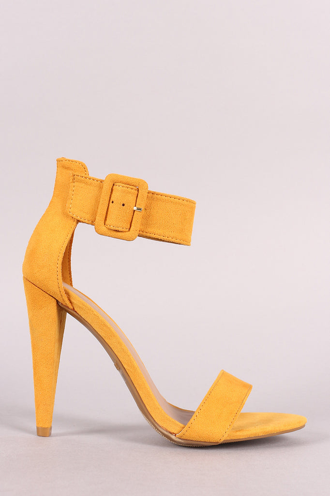 Bamboo Buckled Ankle Strap Open Toe Cone Heel