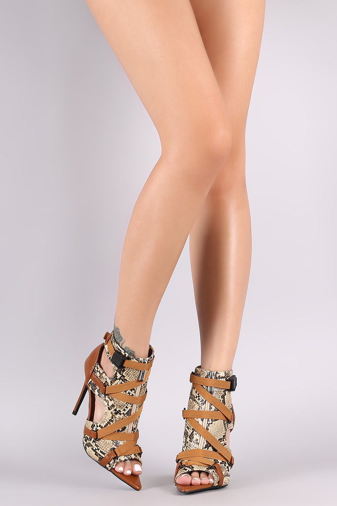 Pointed Open Toe Zipper Trim Lace-Up Stiletto Heel