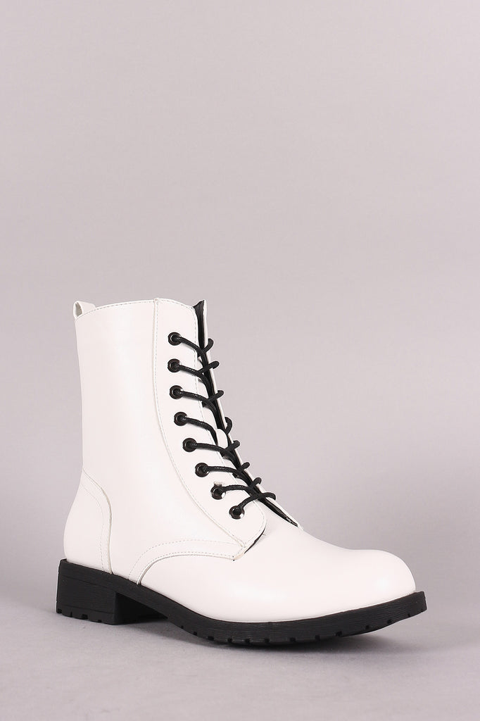 Wild Diva Lounge 8 Hole Lace Up Combat Boot