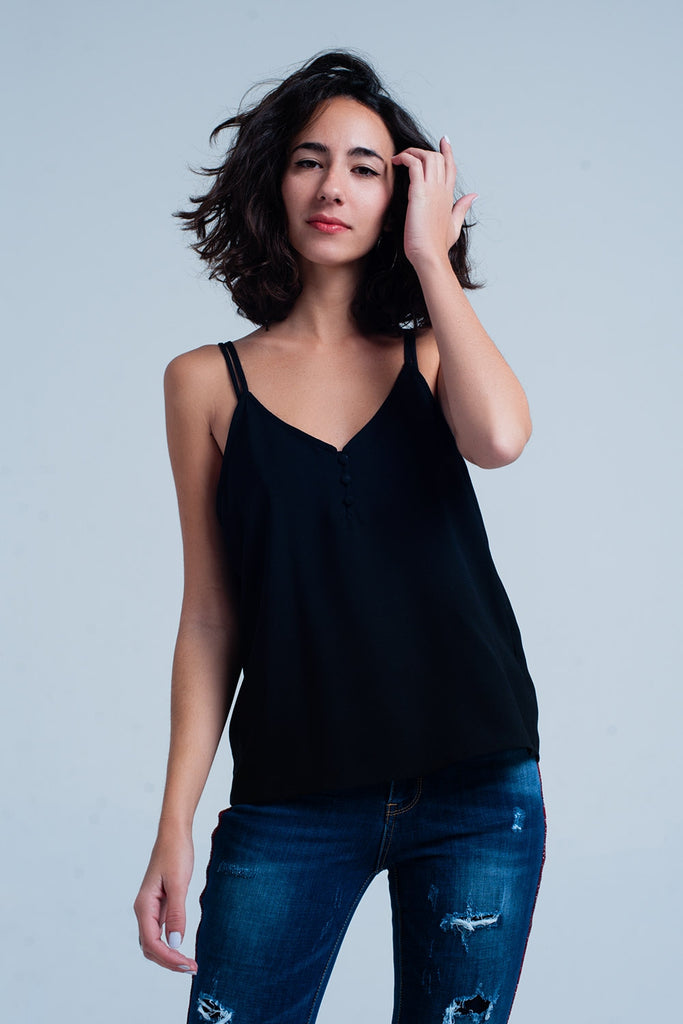 Black Cami Top With Buttons