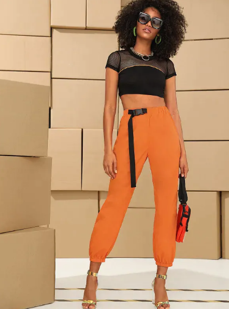 Neon Orange Push Buckle Belted Cargo Pants