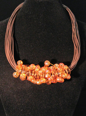 Crystal Beehive Pendant with Leather Necklace - item  #276