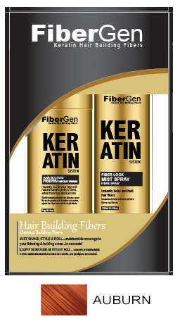 Keratin Hair Fiber Set - Auburn (30g Fiber   120ml Fiber Hold Spray)