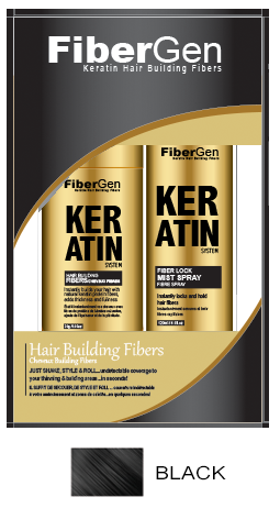 Keratin Hair Fiber Set - Black (30g Fiber   120ml Fiber Hold Spray)