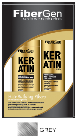 Keratin Hair Fiber Set - Grey (30g Fiber   120ml Fiber Hold Spray)