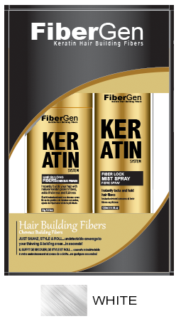 Keratin Hair Fiber Set - White (30g Fiber   120ml Fiber Hold Spray)