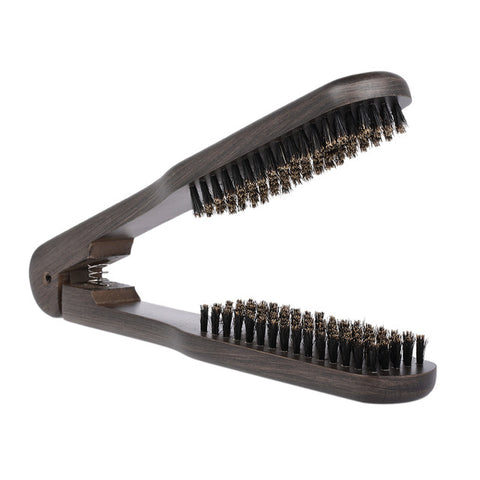 Double Sided Straightening Clamp Hair Brush