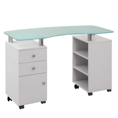 """IRIS"" Glass Top Manicure Table"