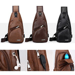Men PU Leather Sling Chest Pack + USB Charging Port