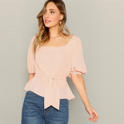 Ladies Lantern Sleeve Buttoned Front Self Belted Blouse