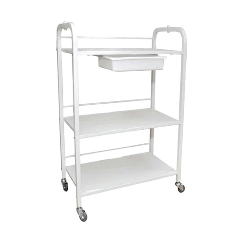 White Spa Wax Trolley - 3 Shelves & Tray