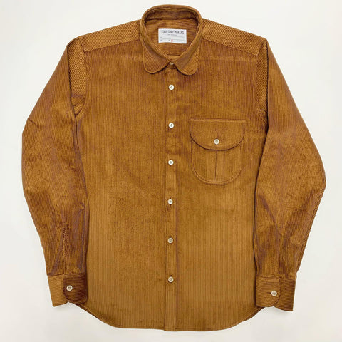 Corduroy Caramel with Rounded Collar and Flap Pocket