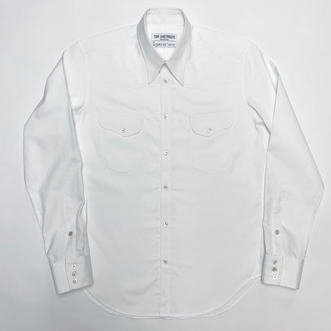 White Italian Pinpoint Oxford Western
