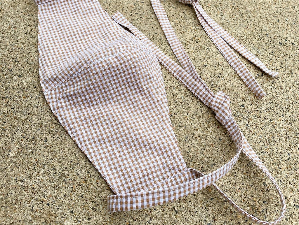 Japanese Cotton Mini Gingham (Seersucker) Tan/White (Lightweight)
